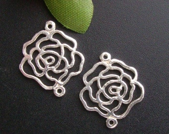 10 pcs Sterling Silver Open Work Rose Blossom Connector Link, Bulk sale - PC-0013