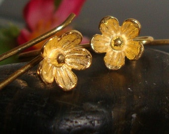 1 Pair, 26x12 mm, 8mm lotus flower, 24K Gold Vermeil Sterling Silver Larger Lotus Blossom Floral Ear wires - EW-0026