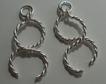 1 pair, 24x12mm -- 925 Sterling Silver Modern Artsy Twisted Bars Small Chandelier Earrings Pendant Connector Link