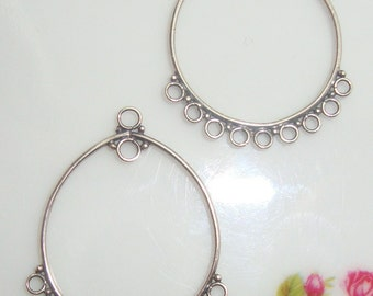 2 pairs, 28x23 mm, Handmade Finding - Sterling Silver Lovely Circles Teardrop Chandelier earwire 26x21mm - CC-0002