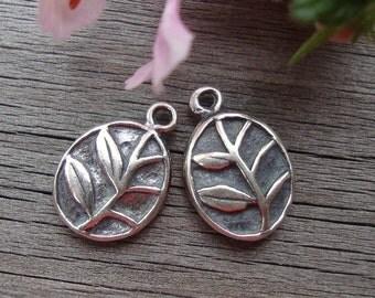 4 pcs, 11.2x8mm, Bali Artisan, Sterling silver Flower Motif Charm Pendant or Earring Drops, Oxidized (double side)