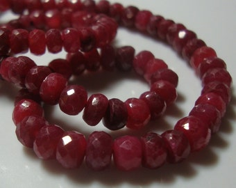 20 pcs, 3-4mm, Genuine Ruby Micro Faceted Rondelle