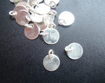 Handmade Sterling Silver Disc,10 pcs, 24 gauge, 6mm disc with a 3mm open jump ring