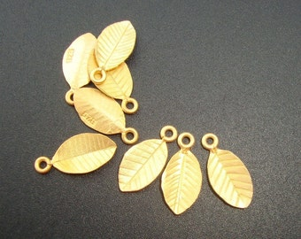24K Gold On Sterling Silver Tiny Leaf Pendant Charm, Sale, 6% off Bulk 24 pcs