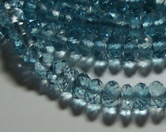 Genuine London Blue Topaz Mirco Faceted Rondelle, AAA, 10 Rondelle - 3-3.5mm