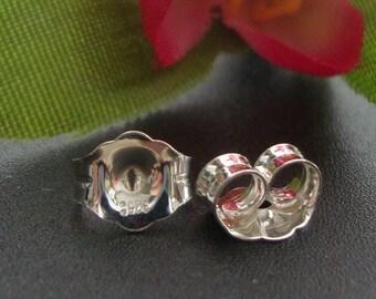 10 pcs, 4.7x5.1mm, 925 Sterlng Silver Stamped Fine Ear Nuts, Earrings Back