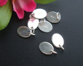 Sterling Silver Oval Tag disc, 4mm ring, 10pcs, 7.5x5.5mm