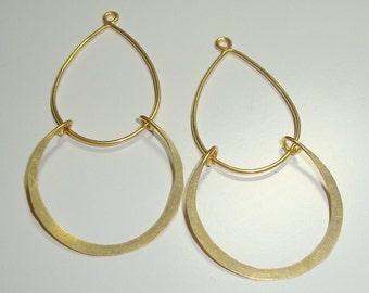 4 pcs 24K Vermeil Sterling Silver Modern Double Loops Earring Findings, Pendant connector - CC-0001