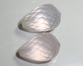 1 pc, 12.5mm, AAAA, Gem Quality, Beautiful Rose Quartz Half Drilled Micro Faceted Teardrop Briolette - Designer Pieces