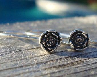 4 pcs, 26x5.5mm, Bali Artisan Oxidized Sterling Silver Rose Blossom / Floral Earwire - EW-0012