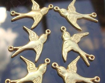 6% off, Bulk 12 birds, 6 Left 6 Right, 24K Gold Vermeil 925 Sterling Silver Happy Sparrow, Swallow Connector with 2 loops,fit 20-22 ga wire