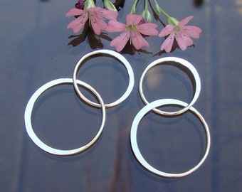 2 pcs, 32mm Sterling Silver Handcrafted Organic 2 circles Lucky 8 Link
