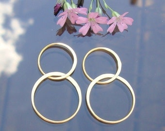 24K Vermeil over Sterling Silver Handcrafted Organic 2 circles Link, Lucky 8, 4 pc, 32mm