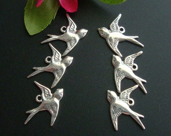 12 pcs - 6 left 6 right, Pure 925 Sterling Silver Lightly Oxidized Victorian style Swallow, bird Charms, fit 20-22 ga wire