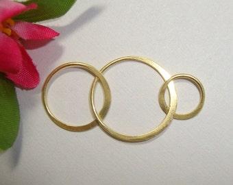 Save, Bulk 10 pcs, 36x18mm, 24K Gold Vermeil Sterling Silver THE KIM Romantic 3 circles Link, Earring, pendant