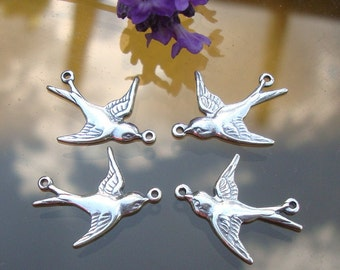 1, 2 pcs, Lightly Oxidized 925 Sterling Silver Happy Sparrow, Swallow Connector with 2 loops, Connectors, fit 20-22 ga wire