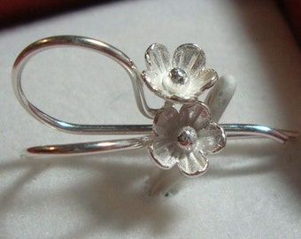 SAVE - BULK 8 pcs - 925 Sterling Silver Lotus Blossom Floral Ear wires,  22x12 mm- EW-0015