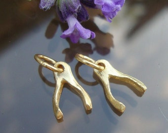 Sale, Reduced from 22.50- GOOD LUCK, 6 pcs, 24K Vermeil over Sterling Silver Tiny Wishbone Good Luck Charm, Minimalist Collection