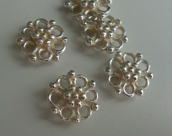 Bright Sterling Silver Beautiful Flower Connectors, Link (double side), Bulk 6 pcs, 8x8mm, Bali Artisan - CC-0015
