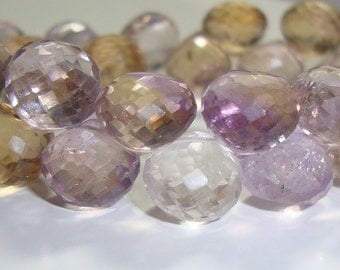 2 color Micro Faceted Ametrine Onion Briolettes, 8mm, 12 beads