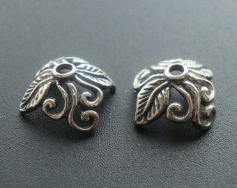 4 pcs, 4.5x8.5 mm, Oxidized Sterling Silver One leaf Scroll Bead Caps,BC-0003