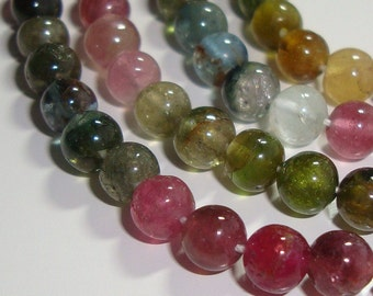 Gorgeous Watermelon Sparkling Tourmaline cute Smooth Tiny Round Beads 14 Inch Strand, 2.5mm