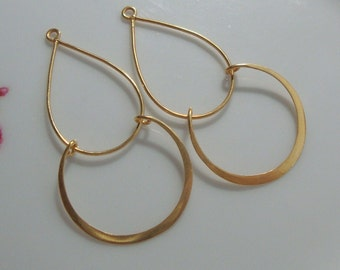 Bulk 10 pcs, 24K Vermeil over Sterling Silver, Handmade Findings, Modern Double Loops Chandelier, Pendant, Earring Findings - CC-0001