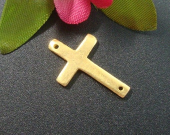 Special Sale, 15% off 20 pcs, 24K Vermeil Sideways Cross,19x12mm - Handmade in Bali - without 925 stamp