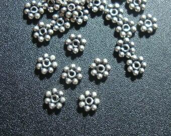 Oxidized Sterling Silver Daisy Spacers, 3.5mm, Bali Artisan - bulk sale