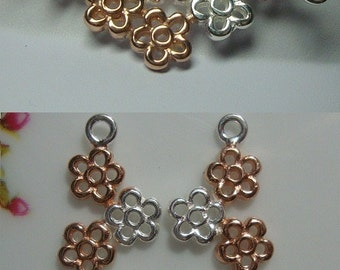 Sterling Silver, Rose Gold Delicate 6 Flowers Connector, Pendant, Earring Findings - Pretty Bridal Design 2 pcs