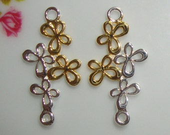 PRICE LOWERED, 2 pcs, 925 Sterling Silver, 18K Gold,  Delicate 4 Butterflies Connector, Pendant - Pretty Bridal Design - PC-0025