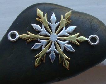 So Beautiful, 1 pc, 25x16mm, 925 Sterling Silver, 18K Gold,  Delicate Two Tone SnowFlakes Connector, Pendant - Tarnish Resistant - SF-0001