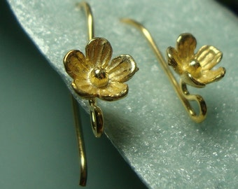 back order,10% off, 20 pairs,  26x12 mm, 8mm lotus flower, 24K gold Vermeil Sterling Silver Larger Lotus Blossom Floral Ear wires - EW-0026