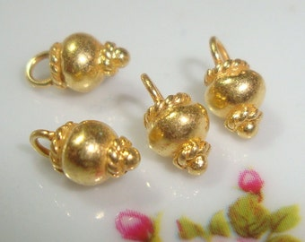 6 pcs, 8x4mm, Handmade 24K Gold Vermeil Pretty Coiled Round Bead Dangle Charm, Handmade Findings, PC-0145