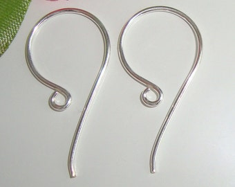 6% off, SAVE, BULK 40 pcs, 24x12 mm, 20 gauge, Sterling Silver larger Simple French Ear Wire hook - Earrings findings