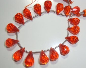 Reduced from 29.90, Full Strand,  Pretty Mandarin Orange CZ Micro Faceted Teardrop Briolette