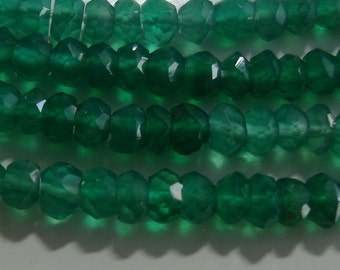 1/2 Strand, 3 mm, Shaded Green Onyx Micro Faceted Rondelle