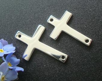 4 pcs, 16x10mm, 925 Sterling Silver Sideways Cross connector, High Polished, CC-0056