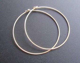 24K Gold Vermeil over 925 Sterling Silver Hoops, bulk 10 pcs, 35mm, Handmade Findings