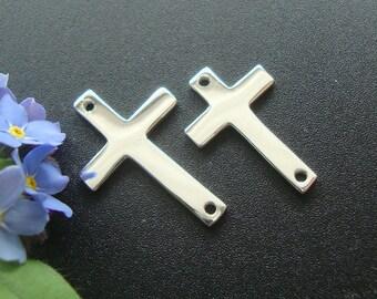 2 pcs, 16x10mm, 925 Sterling Silver Sideways Cross connector, High Polished, CC-0056
