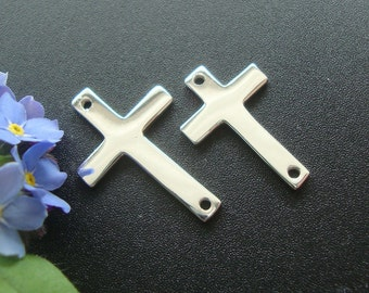 2 pcs, 16x10mm, Rose Gold plate 925 Sterling Silver Sideways Cross connector, High Polished, CC-0056