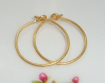 Handmade 24K Gold Vermeil Sterling Silver Classic Earring Hoops, 6 pairs, 15mm, 5/8 inch
