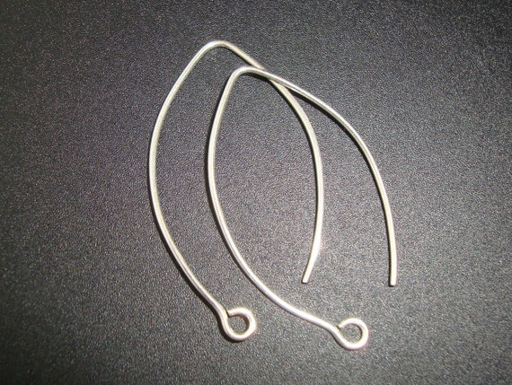 SAVE, Bulk 10 pcs, Matte Finish, Handmade Findings, Pure 925 Sterling Silver LARGE Elongated SEXY Leaf Earwires 42x20 mm