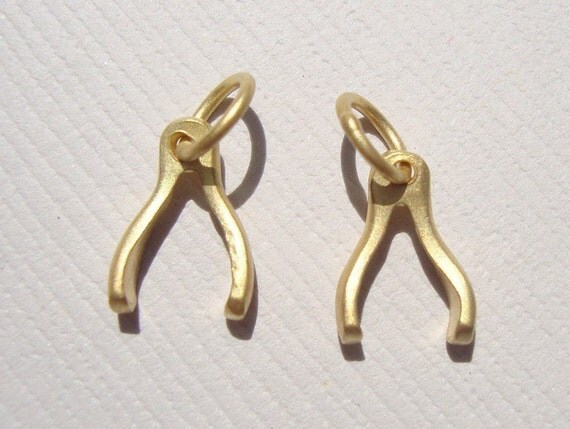 Back to stock, GOOD LUCK, 4 pcs, 24K gold Vermeil over Sterling Silver Tiny Wishbone Good Luck Charm