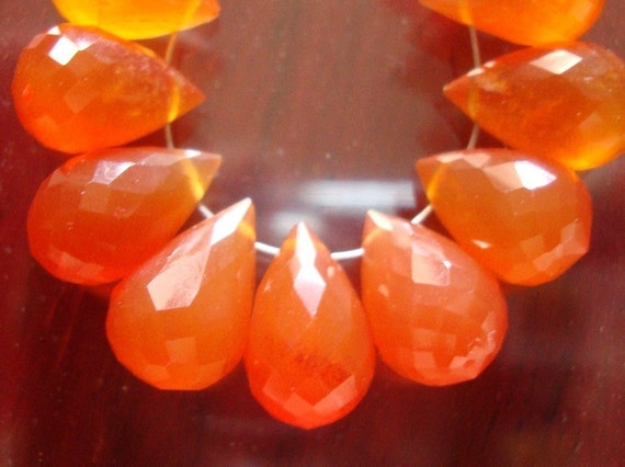6 pcs, 10-11x7-8mm, Beautiful Carnelian, Mandarin Orange, Faceted Teardrop Briolette - Wonderful Fall Color