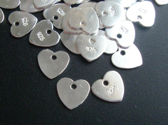 SAVE, BULK 6 pcs - 7mm - 925 Sterling Silver Sweet Heart Disc, Tag, Dangle, Pendant, Earring Findings