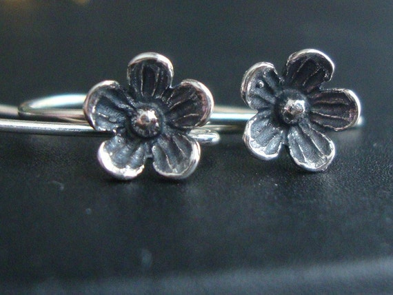 2 Pairs, Larger, 26x12 mm, 8mm lotus flower, 925 Sterling Silver Oxidized Larger Lotus Blossom Floral Earwires - EW-0026