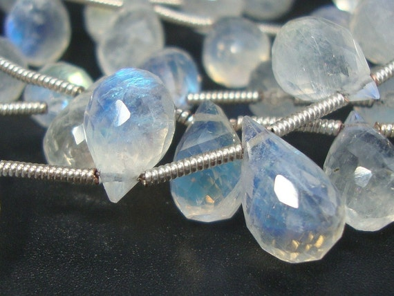 20% off, 4 Inch Strand, 10-11.5mm, Huge Rainbow Blue Moonstone Micro Faceted Teardrop Briolette - Very Fine Quality - N30-3