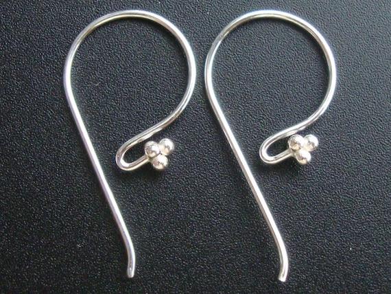 Save, Bulk 12 pairs, 24x12, 20 g ga gauge, Bali Artisans, Sterling Silver 4 Ball French Hook Ear wire, Earrings - EW-0001