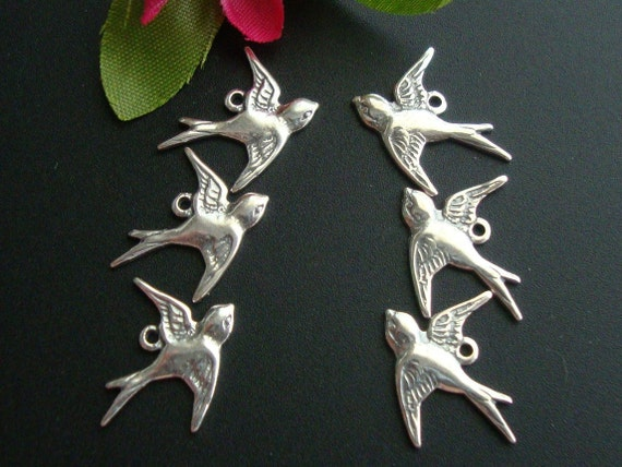 12 pcs - 6 left 6 right, Pure 925 Sterling Silver Lightly Oxidized Victorian style Swallow, flying left sparrow, bird Charms